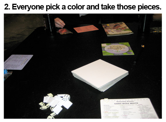 2. Everyone pick a color and take those pieces. that color