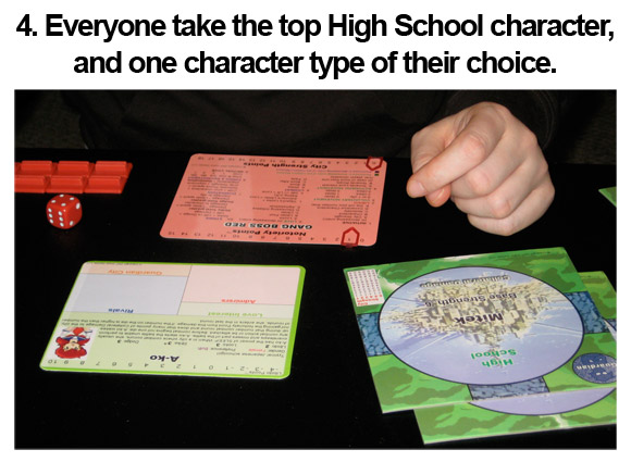 4. Everyone take the top High School character, and one character type of their choice.