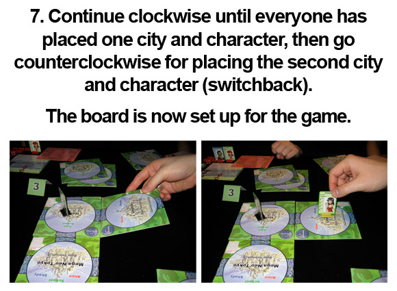 7. Continue clockwise until everyone has placed one city and character, then go counterclockwise for placing the second city and character (switchback). The board is now set up for the game.